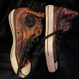 Sequined Animal Print Converse High Tops